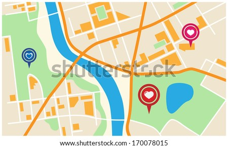 city map with valentine marker