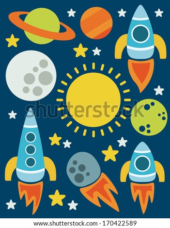 cartoon space objects