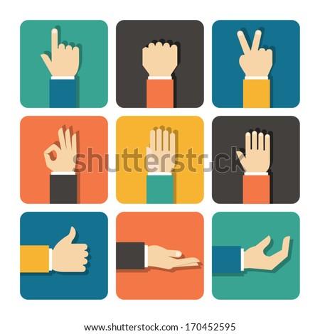 hands icons set  flat design