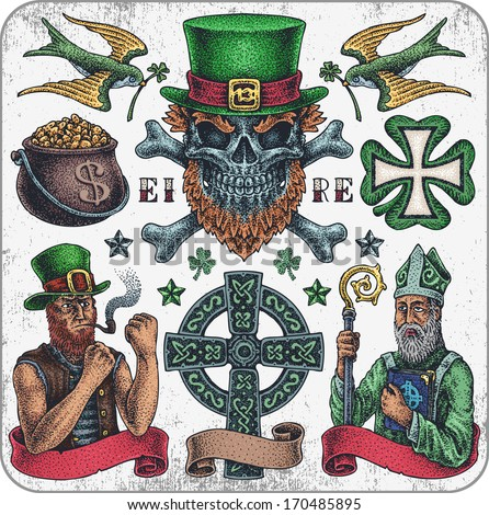 hand drawn tattoo set of irish