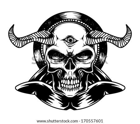 black and white devil torso