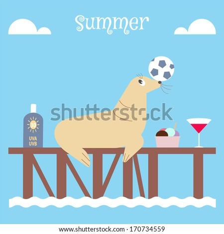 seal playing soccer on the dock