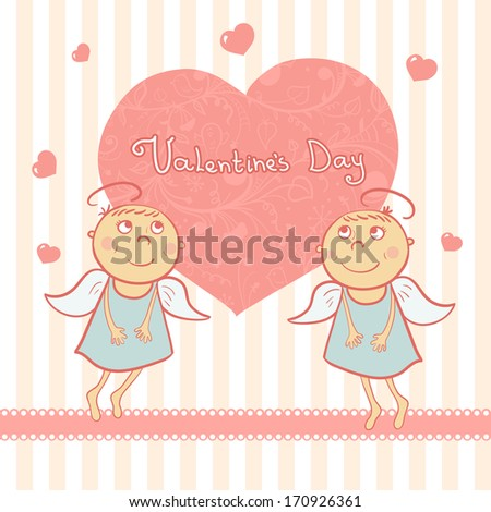 two cute angel  valentines day