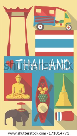 retro drawing of thailand