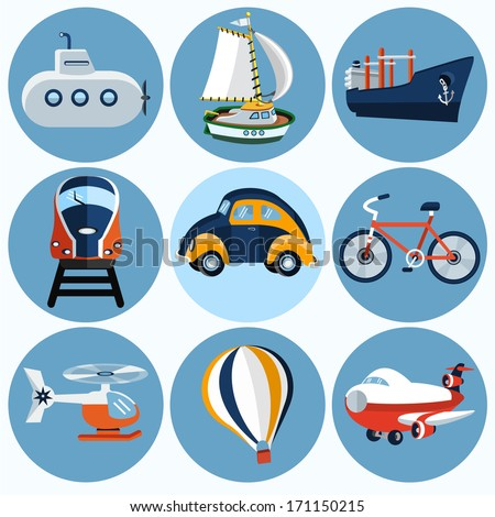 flat transport icon   set