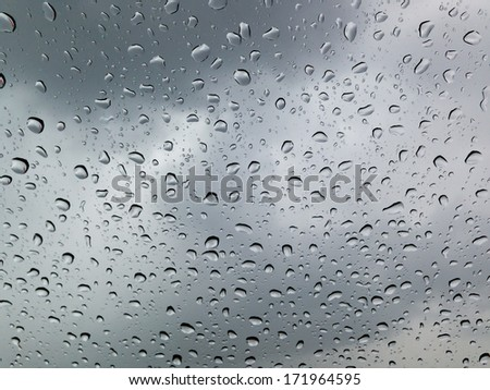 many drops of rain on the glass