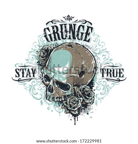 grunge skull with roses and
