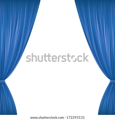 a pair of blue drapes on white