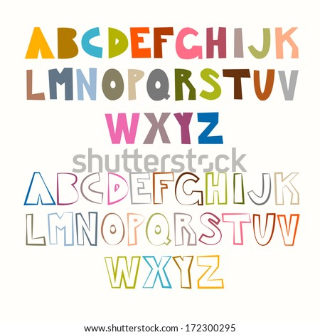 vector funny alphabet sets