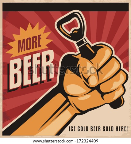 more beer  retro vector design