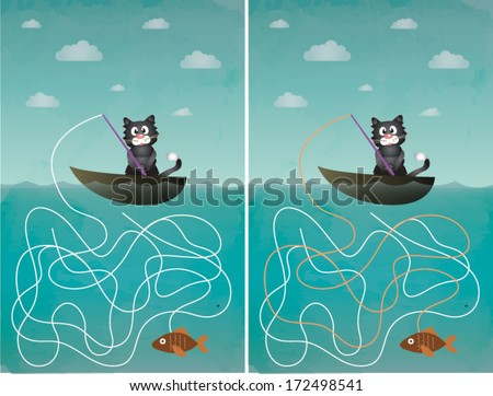 illustration of cat fishing