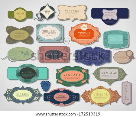 vector set vintage labels  old