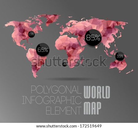 polygonal world map and