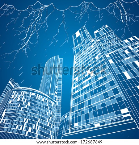 neon city  vector lines town