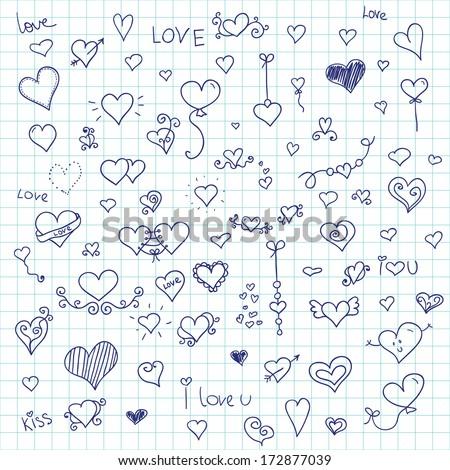 love vector  set doodle inc