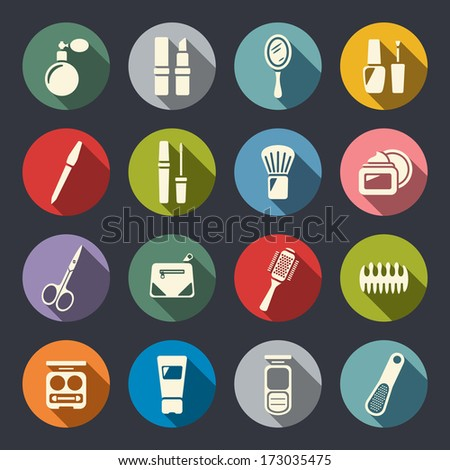 beauty and makeup flat icons