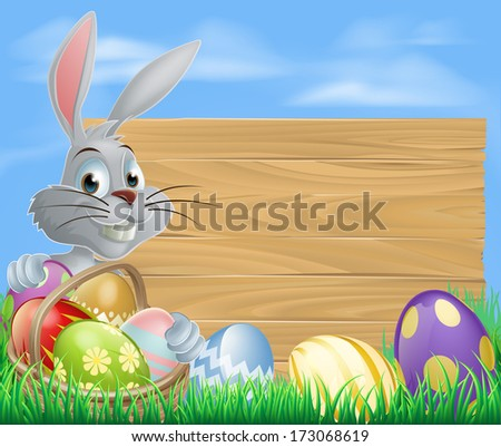 easter bunny rabbit and sign