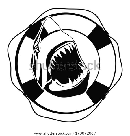 shark in lifebuoy on a white