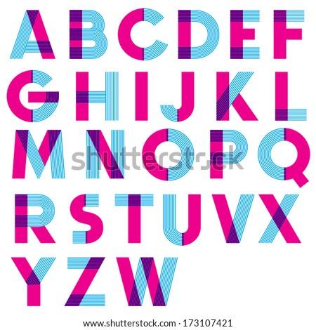 retro vector font vintage type