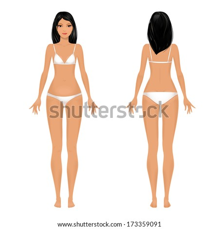 female body template front and