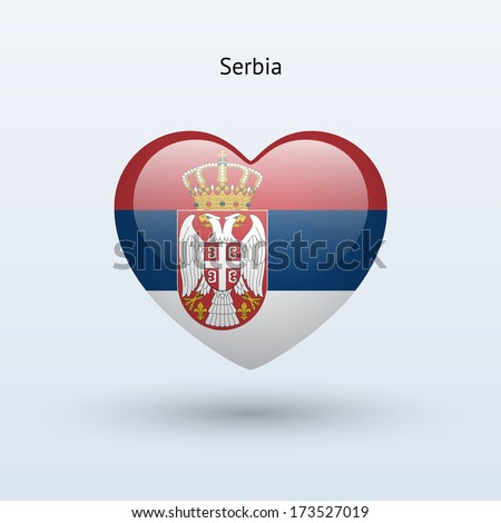 love serbia symbol heart flag