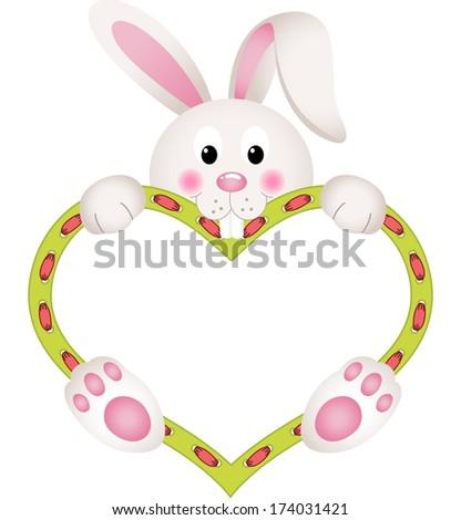 bunny holding blank heart