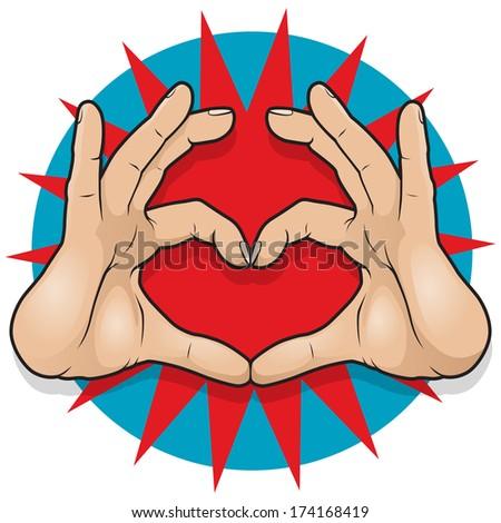 vintage pop art hand heart sign