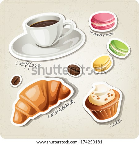 vector set of stylized food