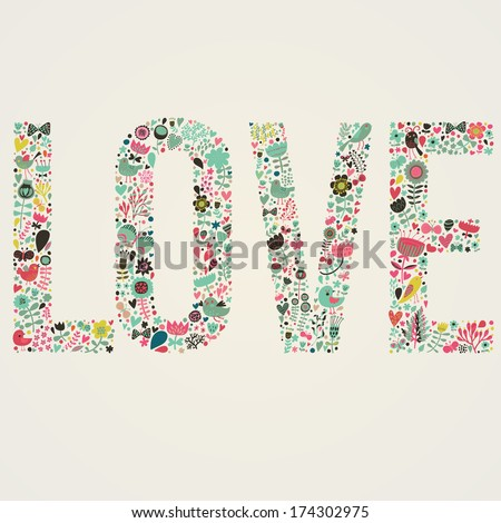 stylish floral card love word