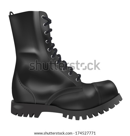 realistic black army boots side