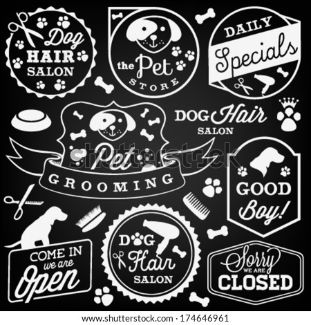 pet hair salon and store badges
