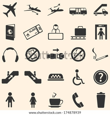 vector set of 25 airport icons