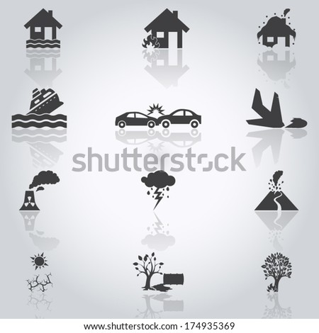 accident icons set