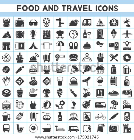 food and travel icons set