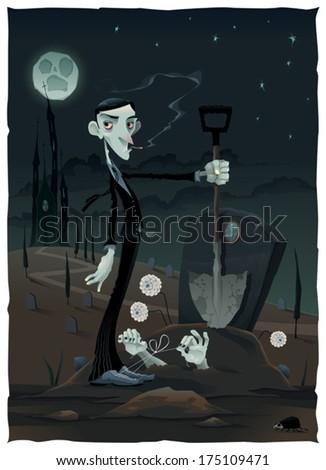 funny scene in the cemetery
