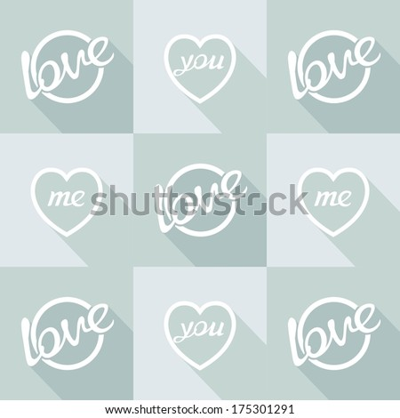flat design hearts and