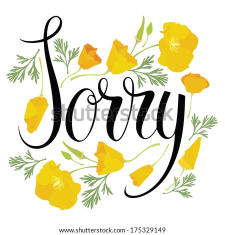 sorry card with yellow flowers