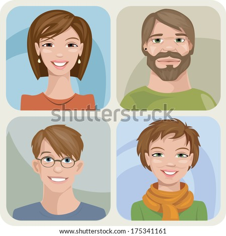 vector style male and female