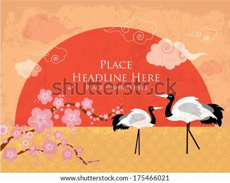 chinese background   crane sun
