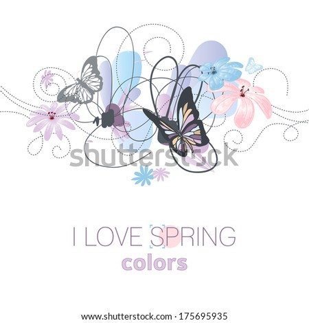 artistic spring floral card in