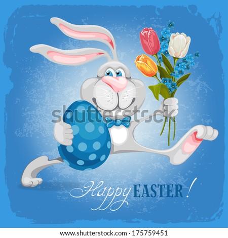 cartoon bunny holding easter