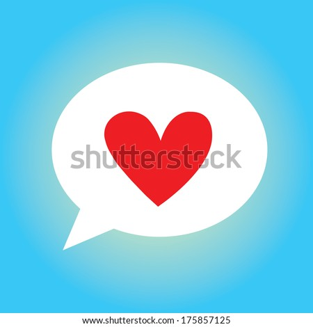 red heart symbol speech bubble