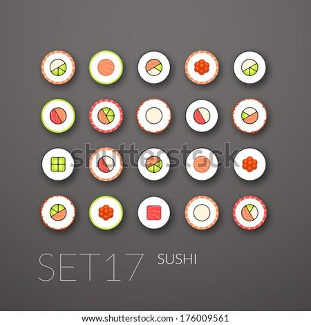 flat icons set 17   sushi