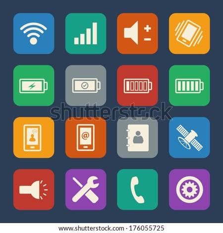 mobile phone icons set flat