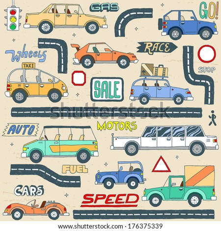 doodle colored cars set vector