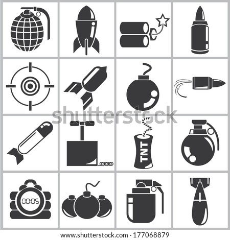 explosive icons  bomb icons set