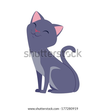 vector smiling cat illustration