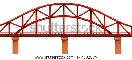 illustration of a red bridge on