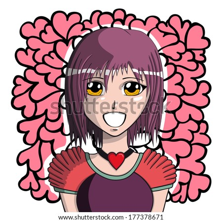 young manga girl  vector
