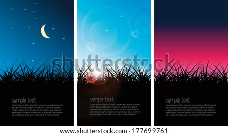 day  night  sunset vector grass